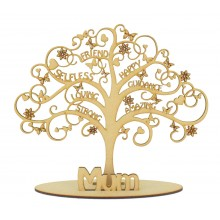 Laser Cut Mothers Day Word Tree in a stand - Options to change name in stand.