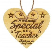 Laser Cut Oak Veneer 'It takes someone special to be a teacher. Thank you for being mine' Engraved Mini Heart Plaque