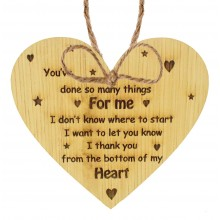 Laser Cut Oak Veneer 'You've done so many things for me. I don't know where to start...' Engraved Mini Heart Plaque