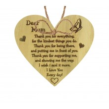 Laser Cut Oak Veneer 'Dear Mum Thank you for everything' Engraved Mini Heart Plaque