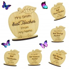 Laser Cut Personalised Oak Veneer 'Best...' Engraved Teachers Apple on a Stand - Options Available