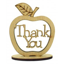 Laser Cut Oak Veneer 'Thank You' Teachers Apple on a Stand with Stars