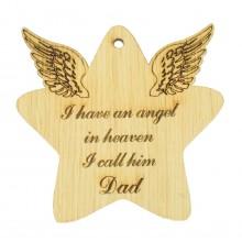 Laser Cut Oak Veneer 'I Have An Angel In Heaven' Engraved Mini Heart Plaque