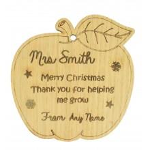 Laser Cut Personalised Oak Veneer Engraved Christmas Decoration - Teachers Apple