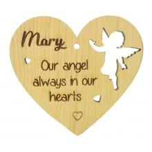 Laser Cut Personalised Oak Veneer Engraved Christmas Decoration - 'Our angel always in our hearts' Heart