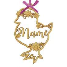 Laser Cut Personalised Easter Chick Frame with Flower Detail. Easter Bauble - Water Font