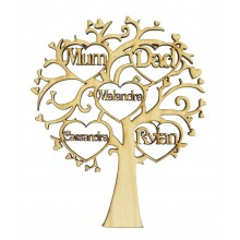 Laser Cut Oak Veneer Personalised Family Tree with Heart Frames with Names inside - 200mm Size