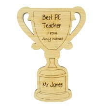 Laser Cut Personalised Oak Veneer 'Best Teacher' Teachers Trophy Shape