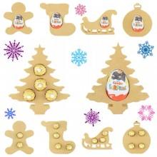 18mm Freestanding Christmas FERRERO ROCHER and KINDER EGG Holders - Bargain Pack of 10 assorted shapes