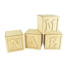 Laser Cut Personalised Building Block Style Decorative Cubes
