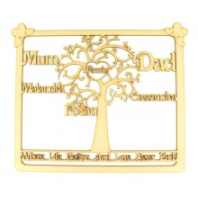 Laser Cut Personalised Framed Family Tree with 'Where Life Begins and Love Never Ends' Quote - WITH HEARTS