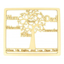 Laser Cut Personalised Framed Family Tree with 'Where Life Begins and Love Never Ends' Quote