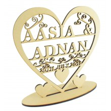 Laser Cut Large Personalised Heart with swirl detail on a stand - Two Names & Date