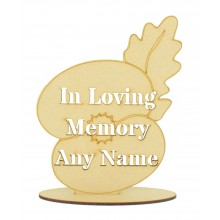 Laser Cut Personalised 'In Loving Memory' Poppy Flower with Leaf Shape on a Stand