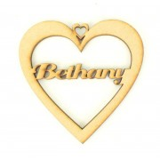 Laser Cut Personalised Heart Bauble - Single Name Only! - 100mm Size