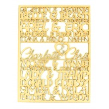Laser cut Personalised 'Princess and Prince' Couples Framed Sign