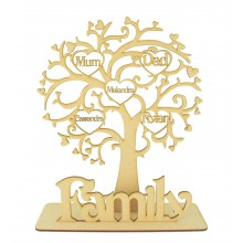 Laser Cut Personalised Family Tree with Heart Frames with Names inside Tree on a Stand with the word Family
