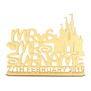 Laser Cut Personalised 'Mr & Mrs' Castle Design on a Stand with Surname & Date