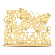 Laser Cut Personalised 'Mr & Mrs' Steampunk Butterfly Design on a Stand with Surname & Date