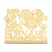 Laser Cut Personalised 'Mr & Mrs' Steampunk Heart Design on a Stand with Surname & Date