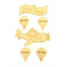 Laser cut Personalised Birth Details Aeroplane with Hanging Shapes