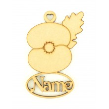 Laser Cut Personalised Poppy Decoration With Name Underneath - 100mm Size - Vic Font