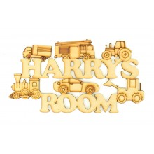 Laser Cut Personalised Boys Room Sign with Vehicle Shapes - Car, Train, Digger etc.