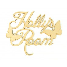 Laser Cut Personalised Script Font Room Sign with Butterflies
