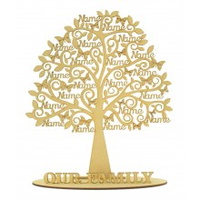 Laser Cut Personalised Large Family Tree with Names on Branches on a Stand - Max 20 Names