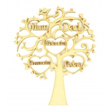 Laser Cut Personalised Family Tree with Heart Frames with Names inside - 200mm Size