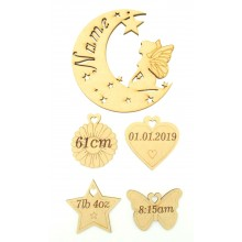 Laser cut Personalised Birth Details Fairy Moon with Hanging Shapes