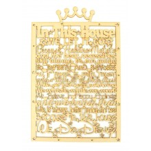 Laser Cut 'In this house... we do Disney' Long Quote Sign - Crown Top