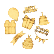 Laser Cut Birthday Themed Pack of 9 Shapes