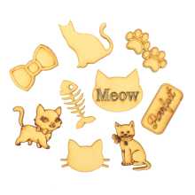 Laser Cut Cat Themed Pack of 9 Shapes