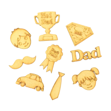 Laser Cut Fathers Day Themed Pack of 9 Shapes