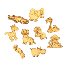 Laser Cut Jungle Themed Pack of 9 Shapes