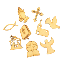 Laser Cut Christian Religion Themed Pack of 9 Shapes