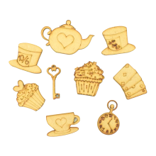 Laser Cut Wonderland Themed Pack of 9 Shapes