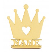Laser Cut Personalised Princess Crown Shape on a Stand