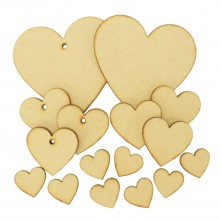 Laser Cut 3mm Bargain Pack Of 16 Heart Shapes - Various Sizes
