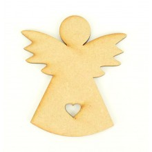 Laser Cut Angel Shape with Cut Out Heart