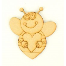 Laser Cut Etched Bumble Bee With Heart Shape