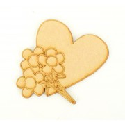 Laser Cut Etched Heart With Flowers Shape