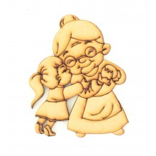 Laser Cut Etched Grandma with Grandaughter Shape