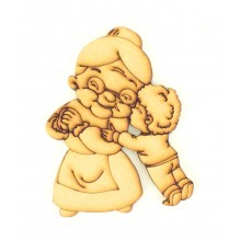 Laser Cut Etched Grandma with Grandson Shape