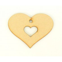 Laser Cut Heart within a Heart Shape