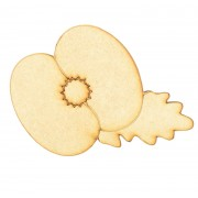 Laser Cut Poppy Flower with Leaf Shape