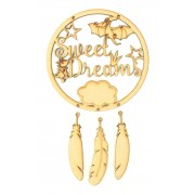 Laser Cut 'Sweet Dreams' Dinosaur Dream Catcher with Hanging Feathers