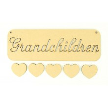 Laser Cut 'Grandchildren' Stencil Plaque with 5 Hearts