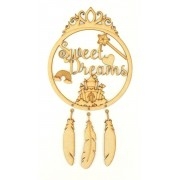 Laser Cut 'Sweet Dreams' Princess Dream Catcher with Hanging Feathers